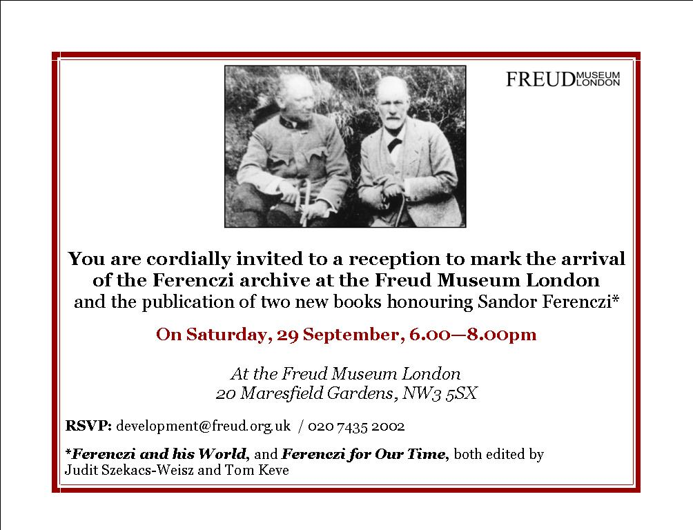 Invitation to the Ferenczi Archives Opening Ceremony